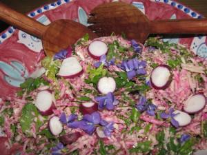 Edible Violets on Vegan and Gluten-Free Beet and Cabbage Slaw